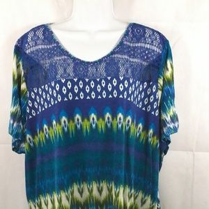 Fred David Beautiful Multicolor Blouse.  Size 3X